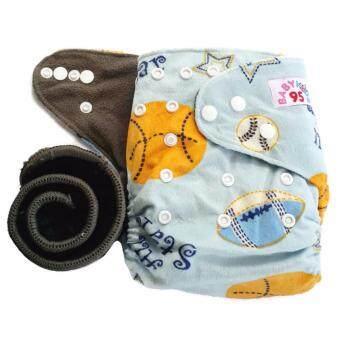 BABYKIDS95 กางเกงผ้าอ้อมชาโคลขอบปกป้อง +แผ่นซับชาโคล (Balls-Blue Minky)