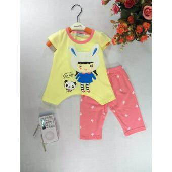 ple shop G0010 เสื้อคอกลมแขนตัดลายกระต่ายสีเหลือง+กางเกงเลคกิ้งสีชมพู