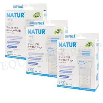 Natur Breast Milk Storage Bags 6 oz. เนเจอร์ ถุงเก็บน้ำนมแม่ 30 ถุง (3 ชุด)