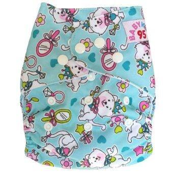 BABYKIDS95 กางเกงผ้าอ้อมซักได้ ชนิดกันน้ำ รุ่นดีลักส์ ไซส์เด็ก 3-16กก. (สีฟ้าลายแมว)
