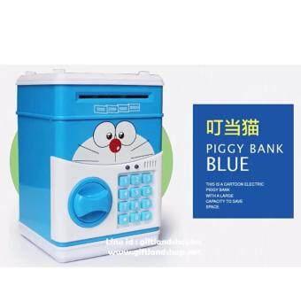 Minlane Kids Money Bank Cash Coin Can ATM Bank Smart Voice Prompt Money กระปุกออมสินตู้เซฟ ATM (Blue)