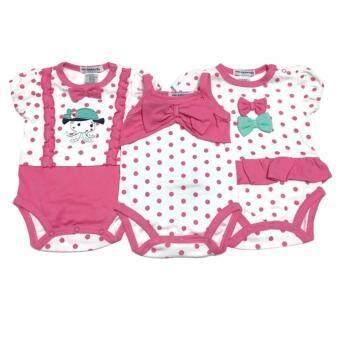 LITTLE BABY M เสื้อผ้าเด็กเล็ก บอดี้สูท set สีชมพู 3ตัว