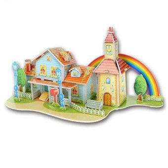 Harga 3D Super Puzzle of Rainbow House For Kid's Birthday Christmas Gift Creative DIY Handmade Toy