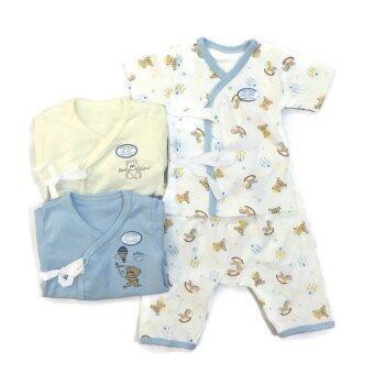 First-wear ชุดเด็กอ่อนแรกเกิด เสื้อผูกหน้าแขนสั้น/กางเกงขายาว, แพ็ค 3 ชุด (Blue Sky Set)