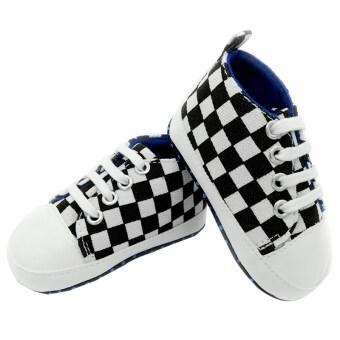 Gracefulvara 1 คู่เด็กทารกน่ารัก ๆ รองเท้าผ้าใบรองเท้าลื่นก้น (ขาว และสีดำ)