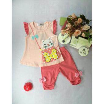 ple shop เสื้อแขนระบายลายแมวสีโอโรส+กางเกงเลคกิ้งสีส้ม