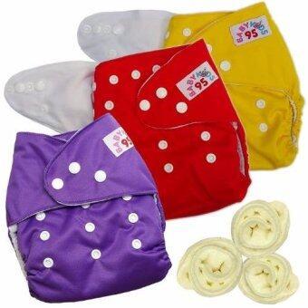 กางเกงผ้าอ้อมกันน้ำ+แผ่นซับไมโครฯ Size:3-16กก. เซ็ท3ตัว (Yellow/Red/Purple)