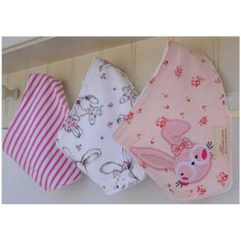 ผ้ากันเปื้อนผ้า สามเหลี่ยม set 3 ผืน รุ่น 111-pink bunny