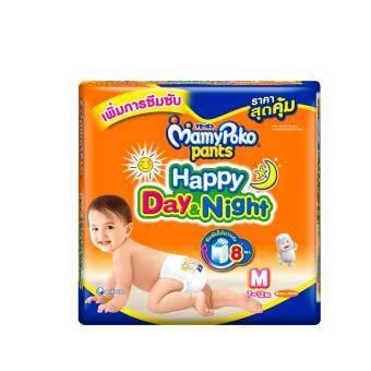 ขายยกลัง! Mamy Poko กางเกงผ้าอ้อม รุ่น Happy Day & Night ไซส์ M แพค 17 ชิ้น ( 8 แพค)