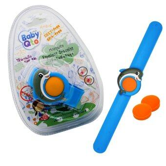 BabyQto สายรัดข้อมือกันยุง สีน้ำเงินลายปลาโลมา