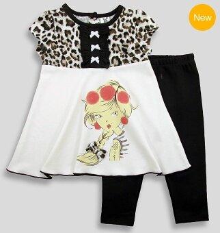 Babycony ชุดเด็กผู้หญิงเสื้อแขนสั้นลายเสือสีน้ำตาลเข้มสลับครีม + กางเกงเลกกิ้งเข้าชุด
