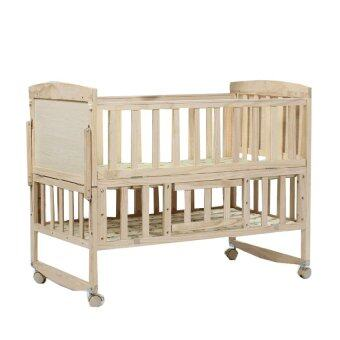 Baby Bed เตียงไม้เด็ก อเนกประสงค์ 3 in 1 พร้อมผ้าปูที่นอน ลาย Fantasy Island - สีขาว