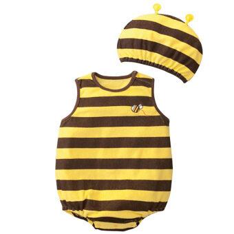 นิวแฟชั่นเสื้อกันหนาวเด็กเสื้อรูปแบบการ์ตูนกับหมวกเหลืองผึ้ง