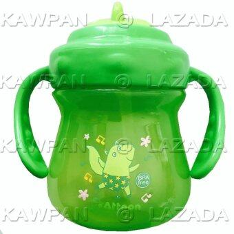 k.baby แก้วหัดดื่ม แบบหลอดดูด ลายการ์ตูน สีเขียว