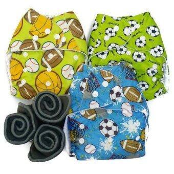BABYKIDS95 กางเกงผ้าอ้อมกันน้ำ+แผ่นซับชาโคล Size:3-16กก. เซ็ท3ตัว (Mixed Ball Set)