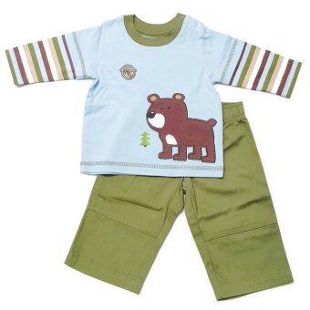 BABYKIDS95 ชุดเด็กผู้ชาย เสื้อแขนยาว+กางเกงขายาว ไซส์เด็ก 3-6 เดือน (เสื้อสีฟ้าลายหมี/กางเกงสีเขียว)