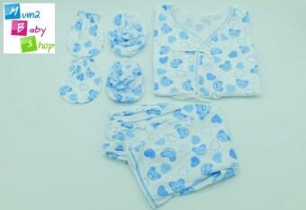 mum2babyshop ชุดเสื้อเด็กแรกเกิดผูกหน้า+แขนยาว+ขายาว+ถุงมือ+ถุงเท้า ผ้าcotton100% set 4 ชิ้น สีฟ้า