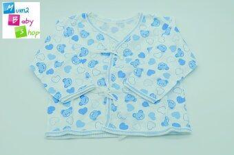 mum2babyshop ชุดเสื้อเด็กแรกเกิดผูกหน้า+แขนยาว+ขายาว+ถุงมือ+ถุงเท้า ผ้าcotton100% set 4 ชิ้น สีฟ้า (image 1)