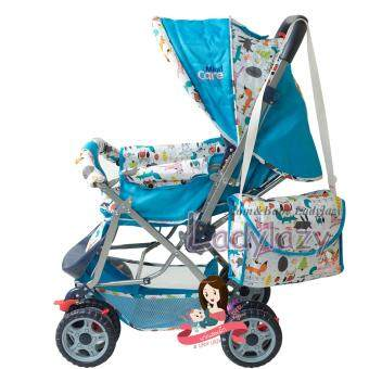 รถเข็นเด็ก No.01 ปรับได้ 3 ระดับ เข็นหน้า-หลัง ลายสัตว์น้อย สีฟ้า