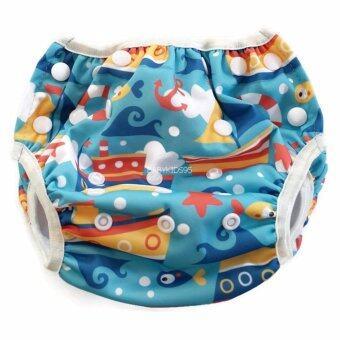 BABYKIDS95 Swim Nappy Digital Print ผ้าอ้อมว่ายน้ำ ลายดิจิตอล ปรับขนาดได้ สำหรับ เด็กแรกเกิด- 7 กก. (Boats-Blue)