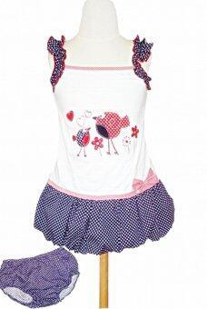 pangpond_shop เดรสสายเดี่ยวทรงบอลลูนลายจุด ปักนกตัวอ้วน + กางเกงใน - สีน้ำเงิน/ขาว