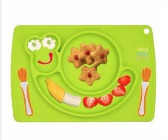 จานซิลิโคนทานอาหารเด็กน้อย ลายน้องหนอนสีเขียว Sozzy