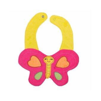 ผ้ากันเปื้อนผ้าเช็ดน้ำลายเด็กหญิงสีชมพู (butterfly)