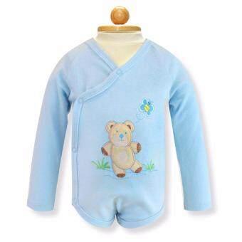 Babybrown ชุดบอดี้สูทเด็ก แขนยาว ขาสั้นสีสีฟ้าอ่อนสำหรับเด็ก3-6เดือน