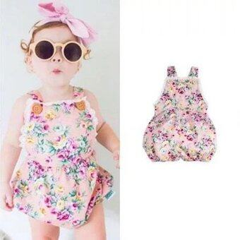 Harga INS Super Cute Baby Girls Sleeveless Strap Bodysuit Romper Fashion Floral Printing Jumpsuit - intl