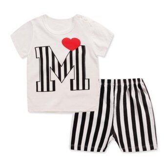 Harga Bear Fashion Baby Boys Girls Clothing Kids Letter M Sweet Heart Summer Clothes 2pcs Set - intl