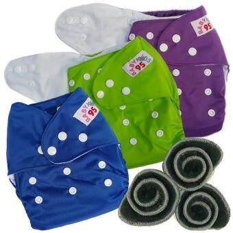 BABYKIDS95 กางเกงผ้าอ้อมกันน้ำ+แผ่นซับชาโคล Size:3-16กก. เซ็ท3ตัว (Purple/Green/Dark Blue)