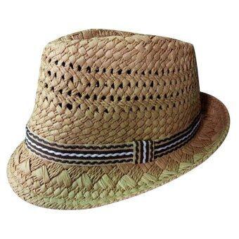 ปี 2559 เด็กหมวกเด็กหมวกปีกหมวกฟางซันแจ๊สหมวกสำหรับชายหญิงกากี