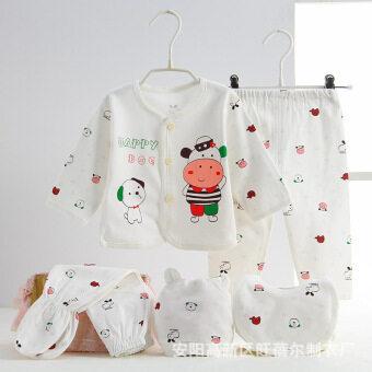 1 X Baby Underwear Cotton Baby Underwear Five - Piece Neonatal Monk Clothing Underwear Sets-Calf Pink - intl