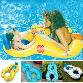 Harga Swim Float Boat Inflatable Swim Ring for Mother and Baby (Blue,Ocean Animal Pattern) - intl