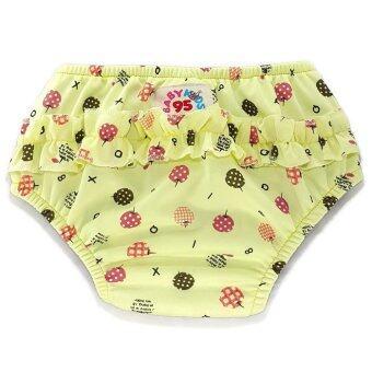 BABYKIDS95 กางเกงผ้าอ้อมว่ายน้ำ มีเป้าซับ เอวสวม สีเหลืองลายเชอร์รี่