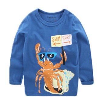 เสื้อผ้าเด็กแขนยาว สีน้ำเงินลายกุ้ง baby long shirts Crayfish
