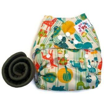 BABYKIDS95 กางเกงผ้าอ้อมกันน้ำ+แผ่นซับชาโคล Size:3-16กก. (Mixed Colors Animals)