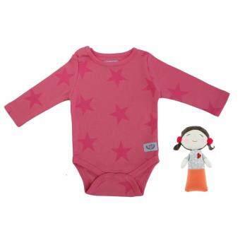 ชุดบอดี้สูท/ชุดนอนเด็กอ่อน ออแกนิค 100% สีชมพู ลายดาว