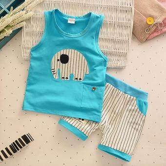 Harga Bear Fashion Baby Girls Boys Clothing Vest + Short Summer Lucky Elephant Clothes 2pcs Set - intl