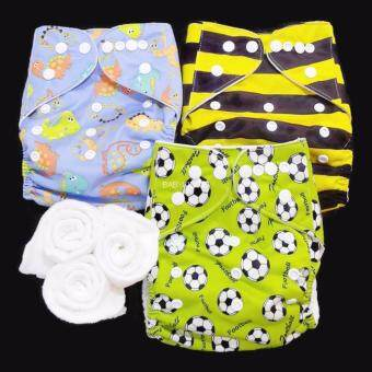 กางเกงผ้าอ้อม กันน้ำ PUL +แผ่นซับไมโครฯ Size:3-16กก. เซ็ท3ตัว A3-3018