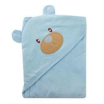First-wear ผ้าห่อตัวเด็ก cotton 100% ลายหัวหมีน่ารัก (สีฟ้า)