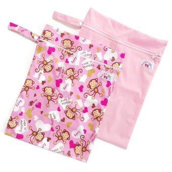 BABYKIDS95 ถุงผ้ากันน้ำ 1 ช่อง สำหรับใส่ผ้าอ้อม หรือผ้าเปียก เซ็ท 2 ชิ้น (สีชมพูอ่อน/ลายลิงสีชมพู)