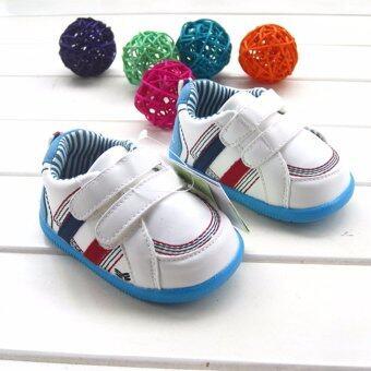 ((พื้นยางกันลื่น/น้ำหนักเบา))รองเท้าผ้าใบเด็กสีขาว สไตล์สปอร์ต รองเท้าเด็กวัยหัดเดิน Size 130