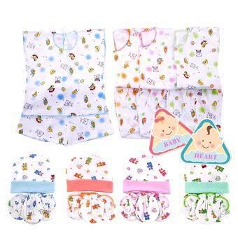 Baby heart ชุดเด็กอ่อนแรกเกิด หมวก ถุงมือ ถุงเท้า (แพ็ค 4 set) ff-033