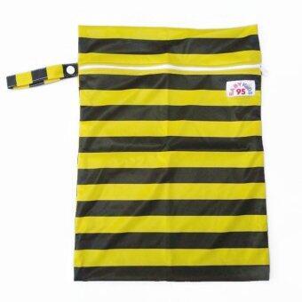 BABYKIDS95 ถุงผ้ากันน้ำ 1 ช่อง หูจับกระดุม Size: 34x40 cm. สำหรับใส่ผ้าอ้อม หรือผ้าเปียก สีพื้น A05A (สีเหลือง,ดำ)