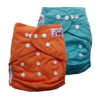 BABYKIDS95 กางเกงผ้าอ้อมเด็ก กันน้ำ ไซส์เด็ก 3-16กก. เซ็ท 2ตัว (สีส้ม/สีฟ้า)