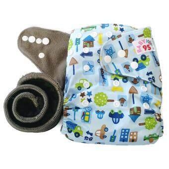 BABYKIDS95 กางเกงผ้าอ้อมชาโคลขอบปกป้อง +แผ่นซับชาโคล (City-Blue)
