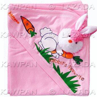 Attoon ผ้าห่อตัวเด็ก ผ้าcotton รูปกระต่าย - สีชมพู
