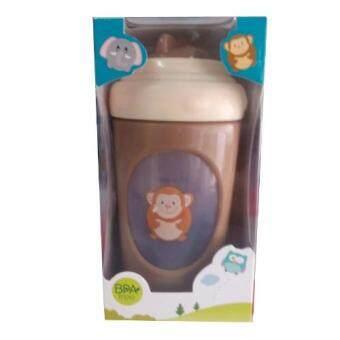 Attoon ถ้วยเสริมทักษะการดูดน้ำจากหลอด สีน้ำตาล 9 OZ