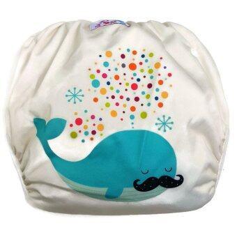 BABYKIDS95 กางเกงผ้าอ้อมว่ายน้ำ ปรับขนาดได้ รุ่น Digital Print ไซส์เด็ก 7-13.5 กก. ลายวาฬ (สีเหลือง)